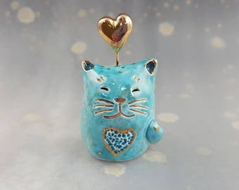 Turquoise Fairy Cat with Gold Hearts Ceramic Figurine