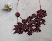 lace necklace | MIHARA | marsala, burgundy lace, wedding necklace, wedding jewelry, victorian, statement necklace, gift for her
