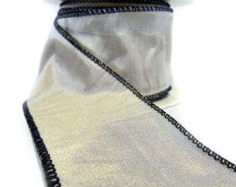 "3 Rolls Of Taupe Faux silk With Black Edge Wired Ribbon  2.5"" Wide"