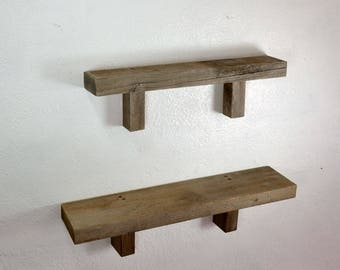 """Decorative Pair of Rustic Reclaimed Wood Wall Hung Shelves  19"""" and 23"""" long Made in the USA"""