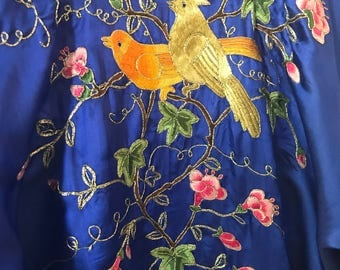 Cobalt Blue Medium Vintage Silver Osmanthus Hand Embroidered 100% Silk Robe Kimono Style Bird Flowers Vines China Wedding Lined TYCAALAK