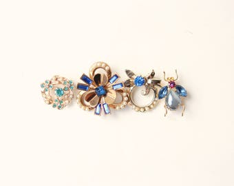 Bridal bouquet brooch, Something blue pin, Good luck charm, Bride blue charm, Vintage brooch, Gold Flower bug, Bouquet charm, Wedding gift
