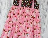 Going out of business SALE, Girls Dress, Birthday Dress, Cupcake Dress, Knot Dress, Spring Dress, Size 7/8 dress, Ready to ship