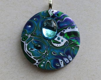 Mokume Gane Polymer Clay Pendant in Peacock Blue, Purple, Green and White with Vintage Mirrored Cabochon, Handmade Jewelry Component