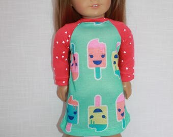 18 inch doll clothes, ice cream print nightdress,ice cream print nightshirt, pajamas,  handknit slippers, Upbeat Petites