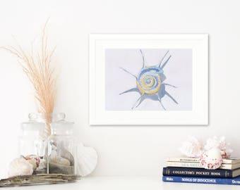 SALE: Beach art print spiral shell in watercolour. Beach decor print