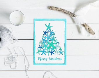 Australian Christmas Card - turquoise starfish christmas tree - A6 watercolour print