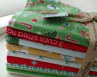 SALE 9 Yards Cozy Christmas fabric Bundle Riley Blake Designs by Lori Holt green
