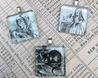 Alice in Wonderland Trio Tile Pendants