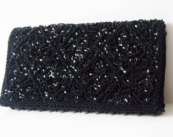 Vintage 1950s Black Beaded Evening Clutch Purse / 50s Black Handbag / Retro Black Noir Envelope Clutch / Formal Cocktail Black Purse