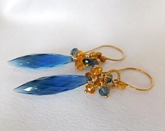 Tanzanite Earrings - Tanzanite Jewelry - Statement Earrings - Long Earrings - Blue Earrings