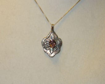 Natural Orange Zircon in Handmade Solid Silver Fleur de Lis Pendant