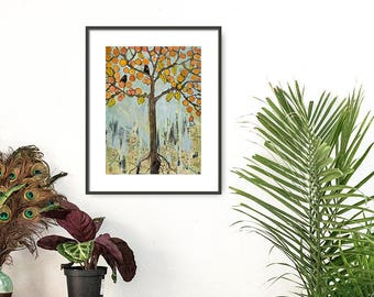 Boho Chic, Paris Map Fine Art Tree Print, Birds, Painting, Mixed Media, Giclee| Various Sizes