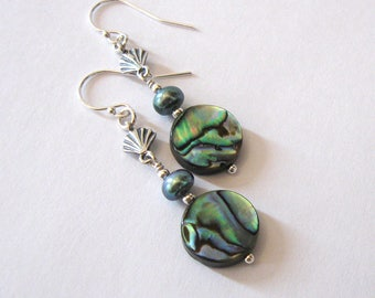 Abalone, Freshwater Pearl Earrings Sterling Silver Sea Shell, Tropical Summer Jewelry
