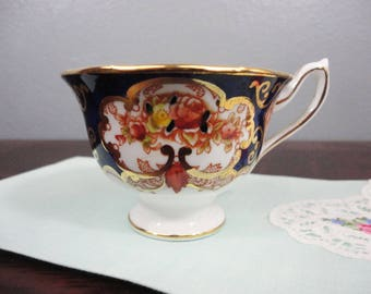 Vintage Royal Albert Heirloom Cobalt Imari Orphan Teacup - 1950's - Perfect, Gifts for Her Tea Party
