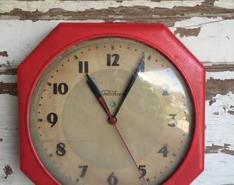 Vintage Telechron Wall Clock - Large School Clock As Is - Industrial and Awesome