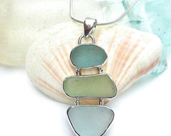 Seaside Trio Sea Glass Necklace | Beach Glass Necklace | Sea Glass Necklace | Sterling Silver | SeaGlass | Sea Glass Jewelry
