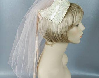 Vintage Ivory Lace Bridal Bridesmaid Headpiece with Pink Netting.