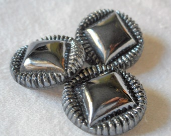 3 VINTAGE Gun Metal Luster on Black Glass BUTTONS