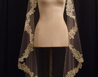 Blush Pink Mid-Thigh Mantilla Veil With Ivory Lace And Crystals