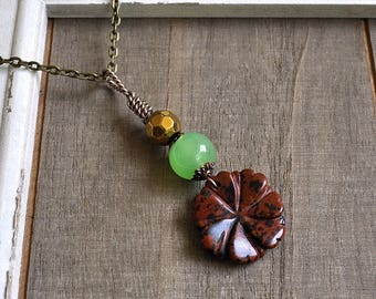 Gemstone Flower Pendant Natural Mocha Brown Jasper Carved Flower Necklace Green Aventurine Bead Hand Wrapped