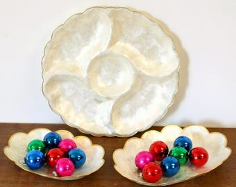 Three Piece Set of Capiz Shell Serving Dishes with Scalloped Gold Edges Including Pair of Nesting Bowls & Divided Appetizer Tray