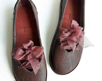 UK 5, Handmade womens Shoes, Leather Fairytale shoe CLARA 3365 Oak brown