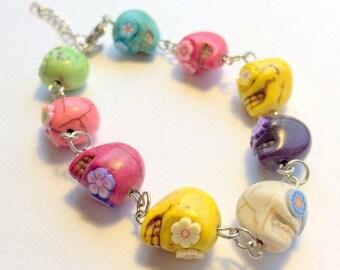 Sugar Skull Bracelet Rainbow Bright Adjustable Day of the Dead Chain Bracelet
