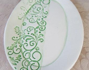 Handmade Ceramic Green and White Soap Dish, Triket Dish, Snack Plate, Key Tray