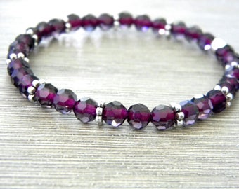Purple Glass Stretch Bracelet with Silver Colored Beads