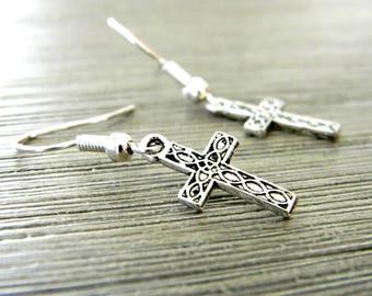 Infinity Cross Earrings Silver Color Dangle Earrings