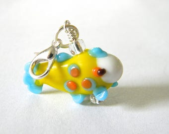 Yellow Fish Charm with Lobster Clasp Lampwork Glass
