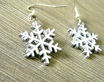 Snowflake Earrings White Enamel Color Dangle Earrings Winter Earrings Silver Colored Ear Wire