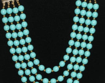 Beautiful Vintage Teal Blue Multi Strand Beaded Necklace Choker