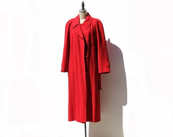 Vintage Red Wool Double Breasted Belted Trench Coat