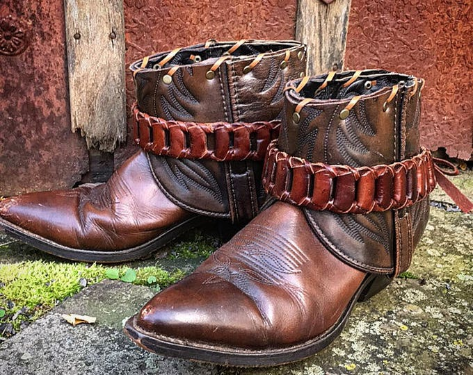 Leather Boot Belts, Genuine Leather, Adjustable & Removable, Boot Accessories, Boho Gypsy Cowgirl / Ready to Ship