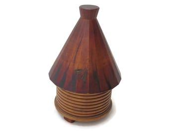 Wooden Beehive Trinket Box - Folk Art Primitive Treen Bee Skep