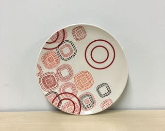 handmade porcelain dessert plate: Dot Dot Rounded Square Plate by Meredith Host, red and orange, mid mod, dots, polka dots, wheel thrown