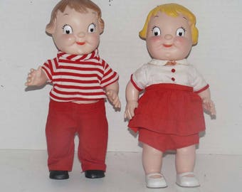 Canpbell Soup Dolls - Boy and Girl - Dressed - Like New