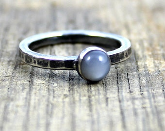 READY TO SHIP - Sterling Grey Moonstone Stacker Ring - Size 8.25