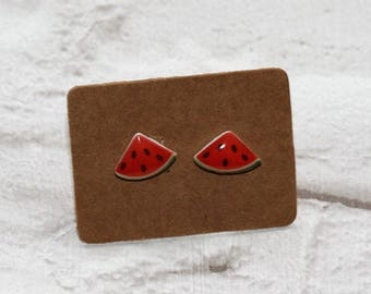 Watermelon Earrings, Teeny Tiny Earrings, Fruit Jewelry, Cute Earrings