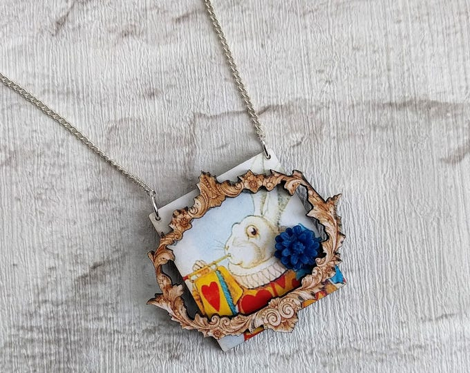 Alice in Wonderland Necklace, Herald Rabbit Necklace, Tenniel Illustration, Statement Necklace, Altered Art, Mixed Media