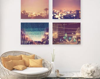 Los Angeles photography, LA at night photo, sparkle twinkle stars gold bokeh lights downtown Hollywood, discount print set colorful wall art