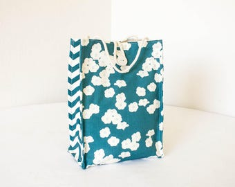 Organic Lunch Bag - Teal Blue Poppies - Organic Cotton, Eco Friendly, Fully Insulated - Back to School Waste Free