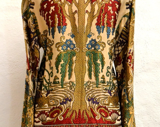 Astounding Rare Gold and Colored TAPESTRY JACQUARD JACKET With Dragons, A Huge Tree and  people. Flared Sleeves. Size Medium