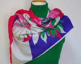 Scarf, Floral Scarf, Polyester Scarf, Pink Green Purple and Blue Flowered Scarf, Large Scarf, Square Scarf, Lightweight Scarf