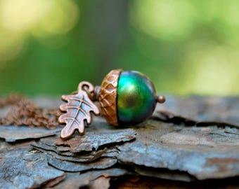 Sylvan Magic Acorn Necklace   Iridescent Green and Copper Acorn Pendant   Nature Jewelry   Fall Acorn Charm Necklace