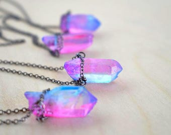 Unicorn Crystal Necklace   Pink and Blue Crystal Necklace   Magical Faerie Quartz Pendant   Neon Crystal Quartz Necklace