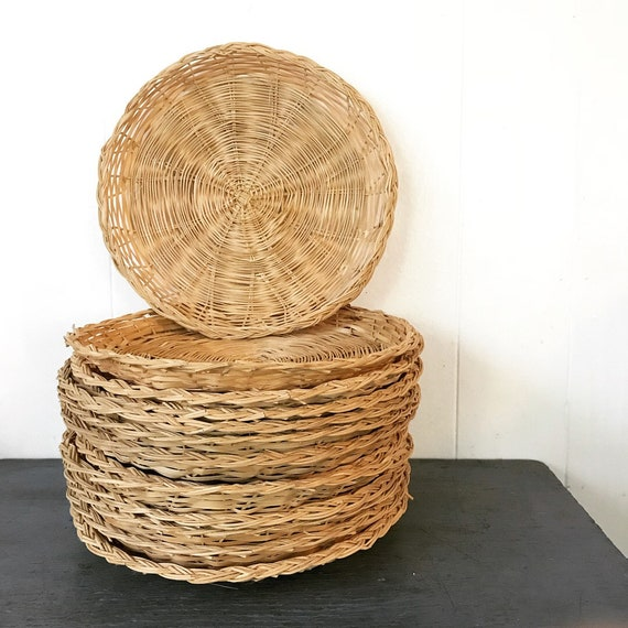 wicker plate chargers - summer picnic outdoor dining - woven wall baskets - Set of 12