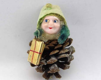 Vintage Pinecone Elf Christmas Tree Ornament - Christmas Decorations - Holiday Decor - Chenille Pine Cone Elf with Gift - Gnome - Figurine
